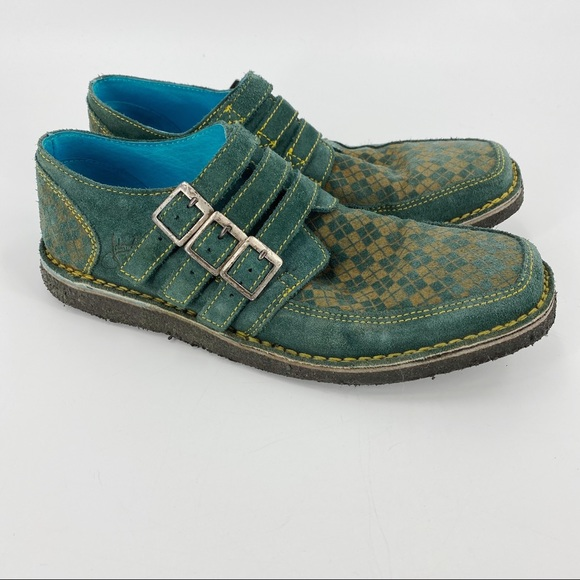 John Fluevog resist creeper turquoise Oxford shoes